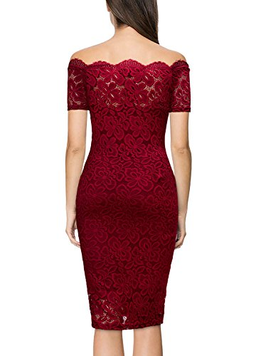 3a537296b70 Miusol Women s Vintage Off Shoulder Flare Lace Slim Cocktail Pencil Dress  at Amazon Women s Clothing store