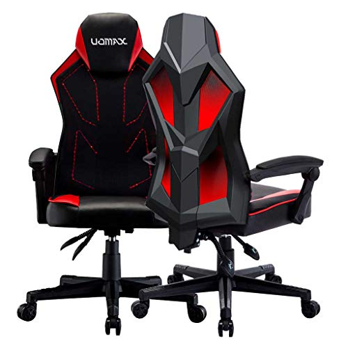 UOMAX Gaming Chairs, Ergonomic Computer Chair for Gamers, Reclining Racing Chair with LED Lights, Armrests and Lumbar Cushion.(Red)