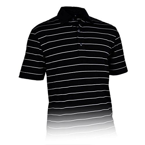 Monterey Club Men's Dry Swing Single Block Stripe Jersey Polo Shirt #3604 (Black/Ivory, ()