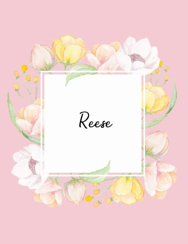 Reese: 110 Ruled Pages 55 Sheets 8.5x11 Inches Water Color Pink Blossom Design for Note / Journal / Composition with Lettering Name,Reese