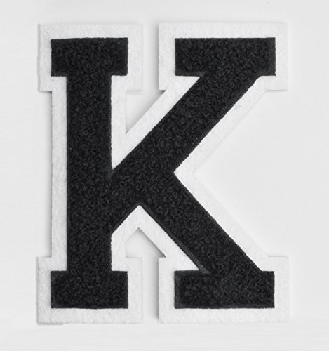 Varsity Letter Patches - Black Embroidered Chenille Letterman Patch - 4 1/2 inch Iron-On Letter Initials (Black, Letter K Patch)