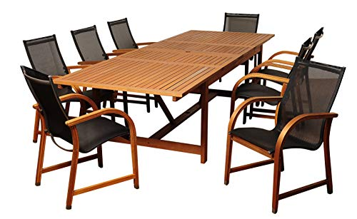 Amazonia Franklin 9-Piece Outdoor Extendable Rectangular Dining Table Set | Eucalyptus Wood...