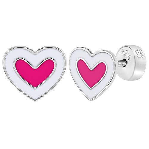 925 Sterling Silver Pink White Enamel Heart Earrings Safety Back Studs for Girls