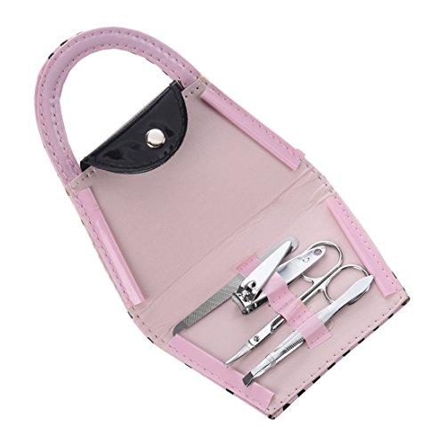 TOOGOO(R) Borsa Viaggi Kit Nail Manicure Accessori Cura Specchio Pinzetta tagliatore