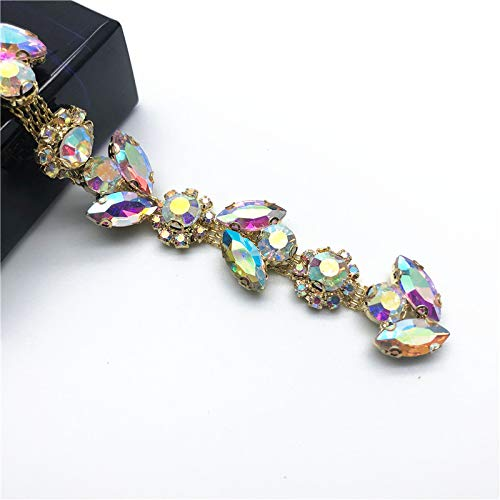 1Yard Gold AB Sunflowers Leaves Crystal Rhinestone Chain Trim for DIY Clothes Accessory Dress Belts Headpiece Jewelry Making