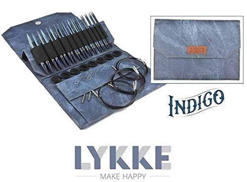 Indigo Lykke Driftwood 3.5'' Interchangeable Circular Knitting Needle Set in Denim Pouch