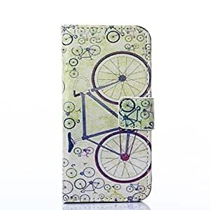 LZX Simple Bicycle Pattern PU Leather Full Body Case with Stand for iPhone 5/5S