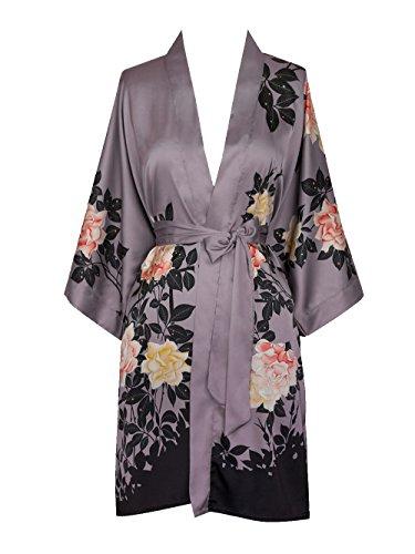 Old Shanghai Women's Kimono Robe Short - Watercolor Floral, blush rose-dusk