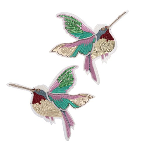 (MagiDeal LARGE PAIR SEQUIN HUMMINGBIRDs SEW ON PATCH EMBROIDERED SEQUINED APPLIQUE TRANSFER BADGE 18X14.5CM)