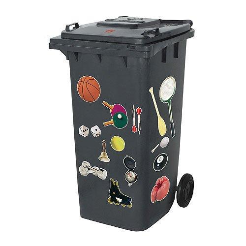 Verrückte Mülltonnen-Aufkleber Motiv Sport Hobby