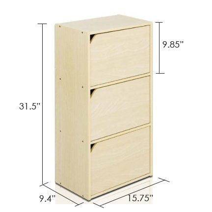 Furinno 11206SBE Pasir 3 Tier Bookcase with Door with out Handle, Steam Beech