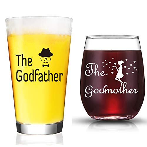 Gift Glass - JERIO Godparent Gifts Godmother Wine Glass Godfather Beer Glass Gifts for Godparents