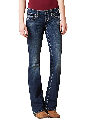 Lynwitkui Womens Slim Bootcut Jeans Bell Bottom Low Rise Pull On Stretch Slim Fit Straight Legs Denim Pants
