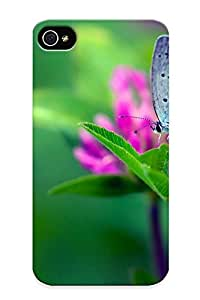 Marvelouscases Perfect Tpu Case For Iphone 4/4s/ Anti-scratch Protector Case (macro Buerfly Flower Leafgreen )
