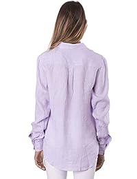 CAMIXA Womens 100% Linen Button Down Shirt Casual Basic Blouse Pockets Loose Top
