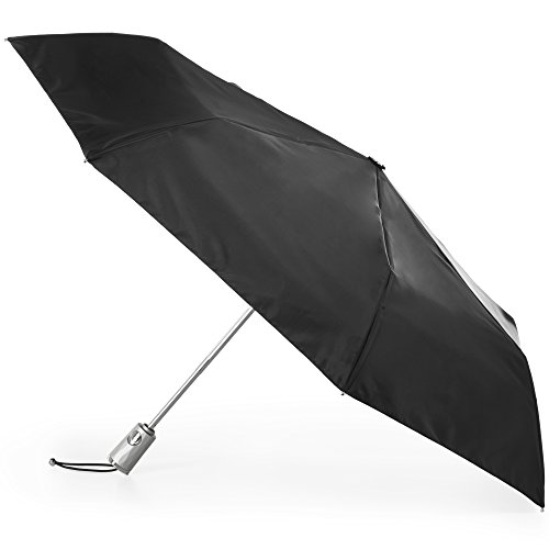 Totes Automatic Open Close Water-Resistant Travel Folding Umbrella with Sun Protection, Black