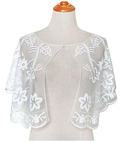 L'vow Women Glittering 1920s Shawl Wraps Sequin Beaded Evening Cape Bolero Flapper Cover Up (White)