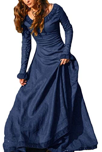 Lady Dresses Womens Gothic Blue Masquerade Satin Maweisong Dresses Medieval Vintage AIqAP4