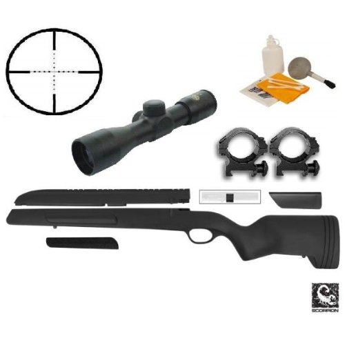 ATI Mauser 98 Rifle Stock Scorpion Recoil Buttpad, Weaver Scope Mount & Cheek Rest + Ultimate Arms Gear 4x30 Mil Dot Scope + Scope Picatinny Rings + Lens Covers - Turkish Mauser Scope Mount