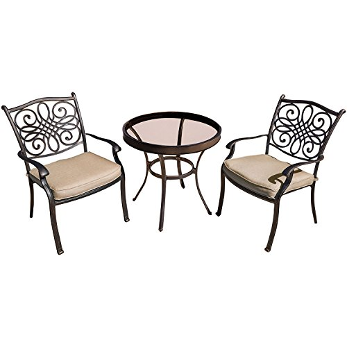 Hanover Traditions 3 Piece Bistro Set in Tan with 30