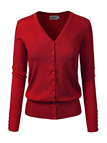 - Design by Olivia Women's Classic Button Down Long Sleeve V-Neck Soft Knit Sweater Cardigan Dark Red XL