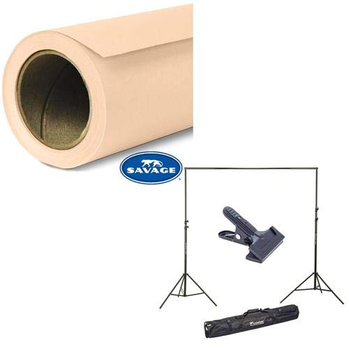 Savage Widetone Seamless Background Paper, 86'' Wide x 36' Egg Nog, 19 - Bundle with Flashpoint 10' Background Support System Air Cushioned, Flashpoint Clip Clamp with 2'' Jaw