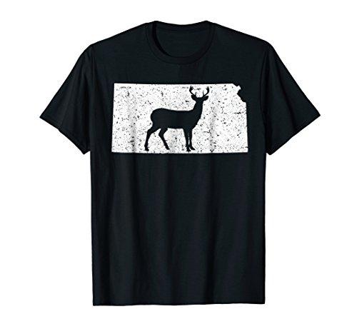 Mens Kansas Vintage Deer Hunting T-shirt Father's Day Gift Large Black