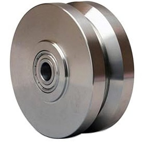 5'' X 2'' Stainless V-Groove Wheel Precision Ball Bearing 950 lb Cap