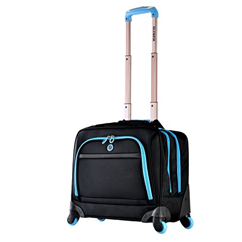 Olympia Business Rolling Tote, Black/Blue