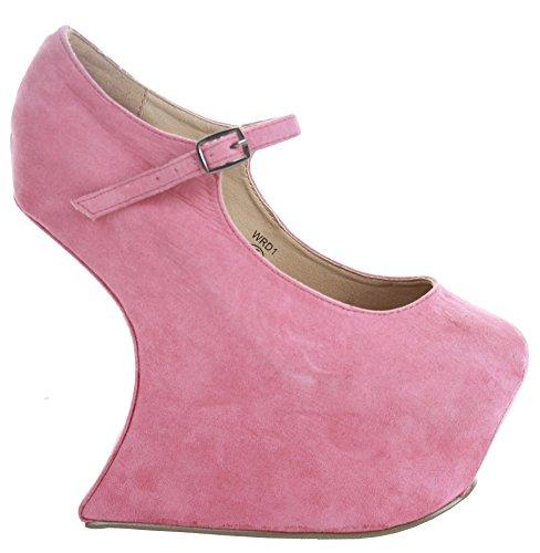 Wedges Damen Klassische Größe Womens High Wedge Heel Court Schuhe Smart Pumps Plattform Wildleder Rosa SrTxYq1wr