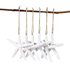 Beach Themed Christmas Ornaments AerWo 20pcs White Artificial Resin Starfish with Rope, Hanging Finger Star Fish DIY Craft Beach Wedding Decorations… beach themed christmas ornaments