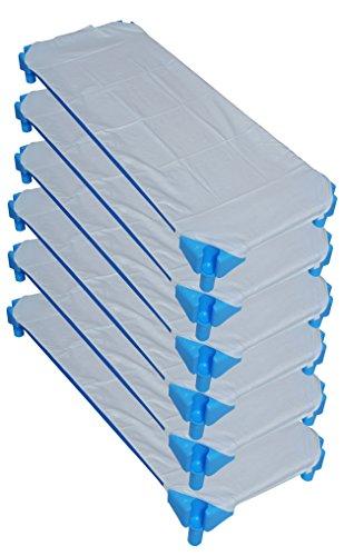 Ti TIN Pack de 6 Sábanas Bajeras para Cuna Apilable de Guardería | Lote de 6 Sábanas Bajeras 100% Algodón, 53x132 cm, color azul: Amazon.es: Bebé