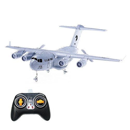 Crazepony RC Airplane C-17 Transport EPP DIY Aircraft 2 Channels 2.4Ghz Remote Control 3-Axis Gyro Airplane Toy RTF ()