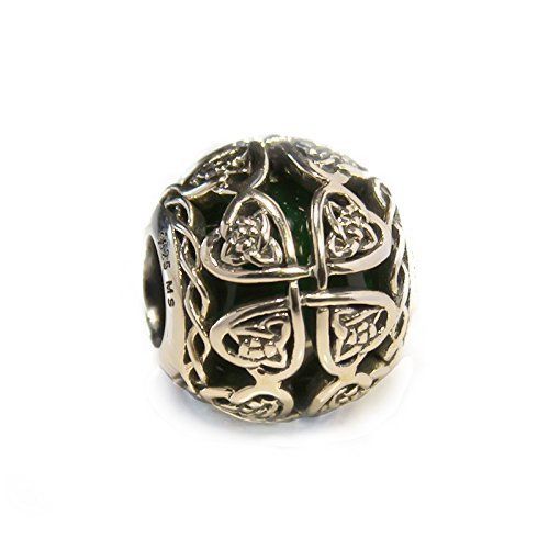Dark Green Murano Glass & Sterling Silver Irish Celtic Lucky Shamrock Charm S925, Irish Celtic Eternal Love Knot Silver Charm Bead, Irish 4 leaf Clover pendant Charm Jewelry, Pandora compatible charm Four Italian Charm