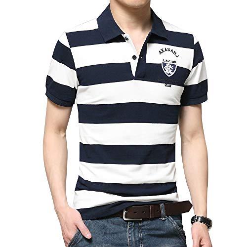 Men's Classic Cotton Striped Collared Short Sleeves Casual Sport Mesh Golf Pique Polo Shirt for Men (2XL, Blue)