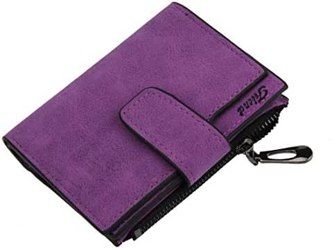 PU Leather Bifold Wallet,Hemlock Women Grind Magic Card Wallet Purse (Purple)