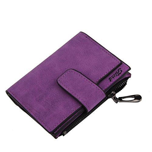 Price comparison product image Hemlock PU Leather Bifold Wallet,  Women Grind Magic Card Wallet Purse (Purple)