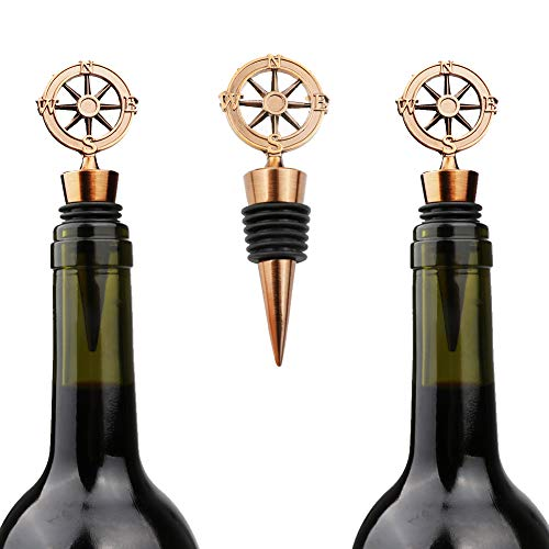 (Aparty4u 10pcs Wine Bottle Stoppers with Compass Shape, Beverage Bottle Stoppers, Wedding Gifts for Guests for Party Supplies, Travel Theme Baby Shower Bridal Shower Favors)