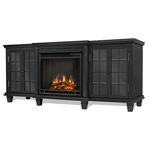 Real Flame Marlowe Electric Entertainment Fireplace in Black Finish (Fireplace Metal Mantels)