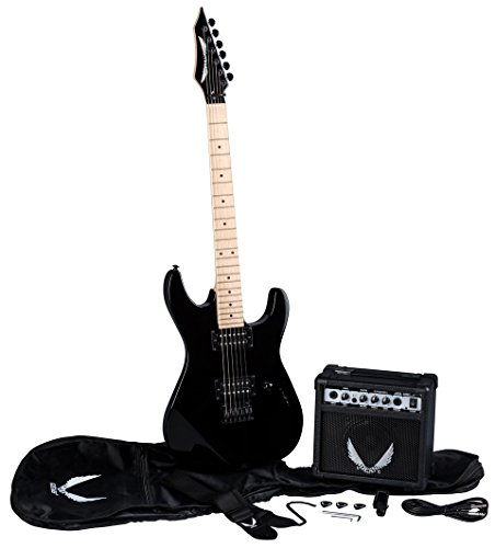 Dean Guitars 6 String Dean Custom Zone Solid Body Electric Guitar Pack-Classic Black with Amp & Acc (CZONECBKPK)