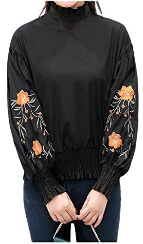 良心姿を消すサンダー[ライオンガーデン] ボヘミアン 可愛い おしゃれ 刺繍 花柄 長袖 ブラウス 体型カバー レディース M ~ XL