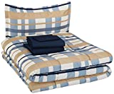 AmazonBasics Kid's Bed-in-a-Bag - Soft, Easy-Wash Microfiber - Twin, Blue Traditional Plaid
