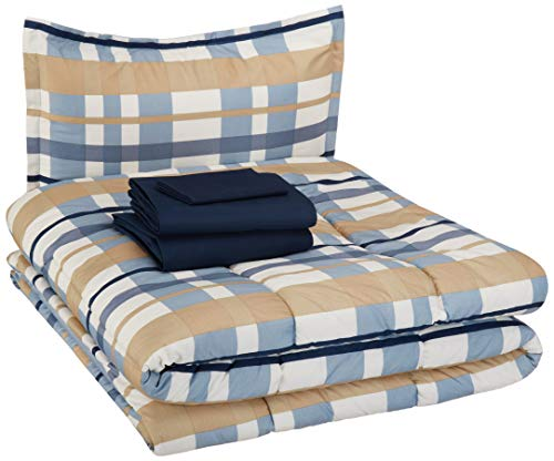 Size Twin Comforter Plaid - AmazonBasics Kid's Bed-in-a-Bag - Soft, Easy-Wash Microfiber - Twin, Blue Traditional Plaid