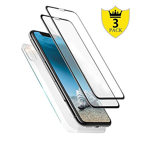 [3-Pack] iPhone Xs Max Screen Protector Glass, Front Back iPhone Xs Max Tempered Glass Screen Protector [Case Friendly] [Bubble-Free] with Easy Installation for Apple iPhone Xs MAX (2018) 6.5 ()