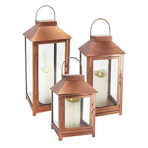 GiveU DFL-112 Big Set of 3 Indoor and Outdoor Metal Copper Lanterns-with Moving Flame Led Candle-with Batteries, L,M.S, Bronze