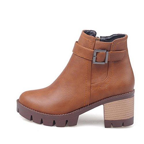 Heels Kitten Solid PU Allhqfashion Low Toe Closed Women's Brown Boots Top Round fwqpF60
