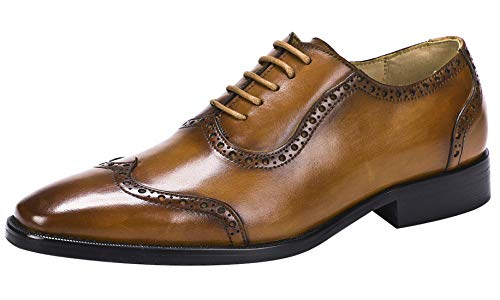 Men's Oxford Classic Wingtip Lace-up Formal Leather Dress Shoes Tan 9.5 M US ()