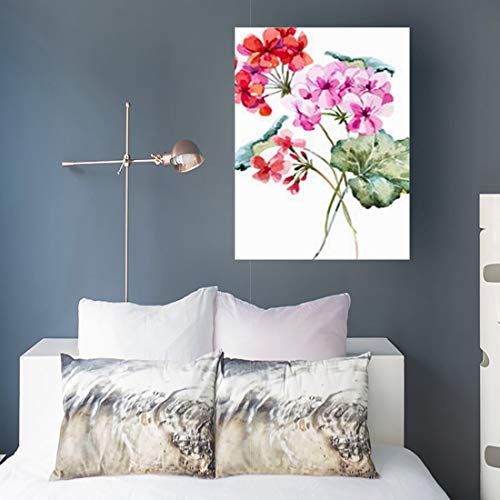 Canvas Prints Wall Art Stretched Framed Pink Watercolor Floral Water Bouquet Geranium Nature Plutonium 16 x 16 Inches Modern Painting Home Decor Wrapped Gallery Artwork