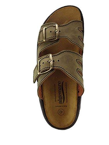 Algemare Pantolette Moor Nubuk Algen-Kork Wechselfußbett Herstellung in Deutschland 7388_7878, Größe:44