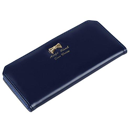 SODIAL (R) Dame schlank Kunstleder lange Schmetterling Geldboerse Karten Geldbeutel Tasche (blau)